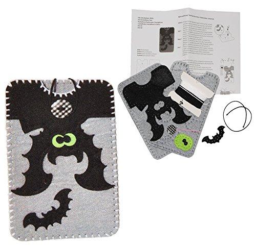 alles-meine.de GmbH Bastelset: Handytasche / Handyhülle - Smartphone Hülle - Fledermaus in grau schwarz - aus Filz - Gr. L - für Handy bis 7,8 cm breit * 14,5 cm hoch - zum Stick..