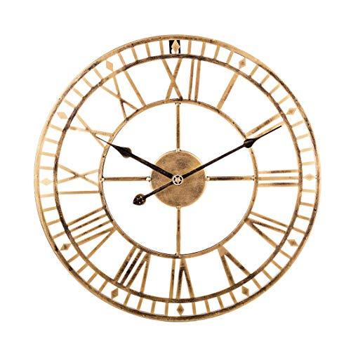 Reloj de pared de metal grande de hierro retro, silencioso, funciona con pilas, con números romanos de metal, redondo, moderno, para decoración de sala de estar, color dorado 60 cm