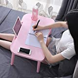 Laptop Desk for Bed Kids Lap Desk Tray Phone Tablet Holder and Cup Holder Portable Laptop Desk with Foldable Legs (Pink)