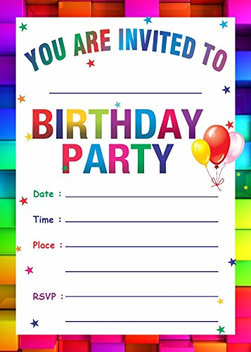 Askprints Birthday Metallic Card Invitations with Envelopes - Kids Birthday Party Invitations for Boys or Girls (25 Count)