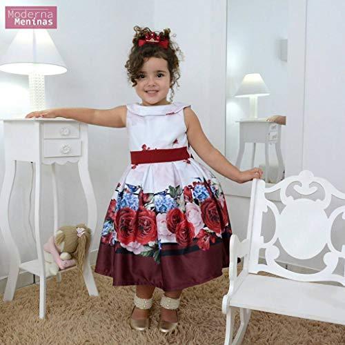vestido infantil floral vinho