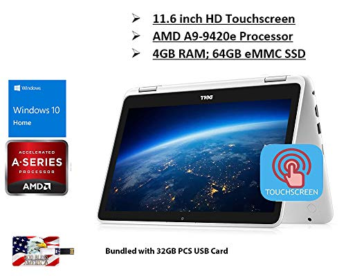 2020 Newest Flagship Dell Inspiron 11 3000 2 in 1 Laptop 11.6' HD Touchscreen Display AMD A9-9420e 4GB DDR4 64GB eMMC Graphics with AMD APU 720P Camera WiFi HDMI USB Win 10 32GB PCS USB Card