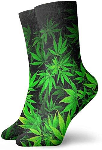 okstore1988 Calcetines casuales para mujer con estampado de marihuana verde fresco y divertido para mujer