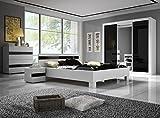 Chambre à Coucher complète Lucca Design laqué Brillant Noir et Blanc lit 160x200, Table de Nuit et Commode
