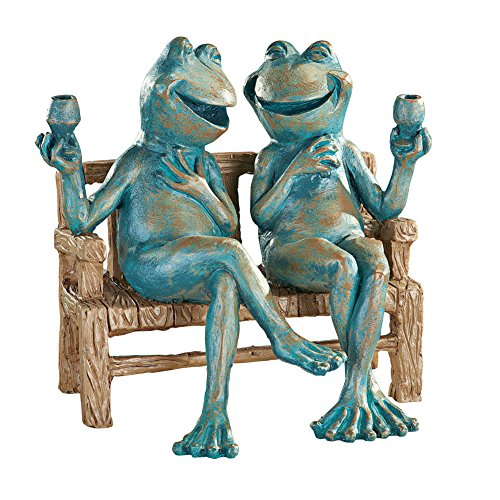 Snoogg 454dgs Happy Hour Frogs Garden Statue, Red