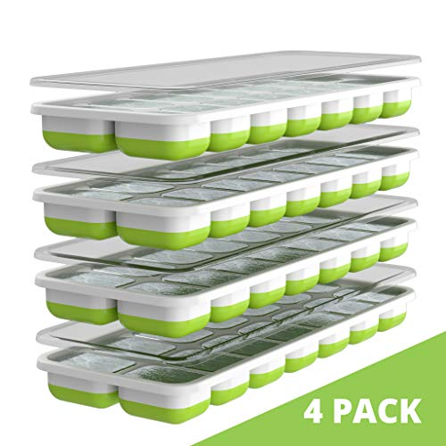 Oliver's Kitchen Eiswürfelformen – 4er Packung Eiswürfelschalen– Flexible Antihaft Eiswürfelbehälter – Platzsparend und stapelbar – Spülmaschinenfest – BPA-freie Silikon Eiswürfelform mit Deckel