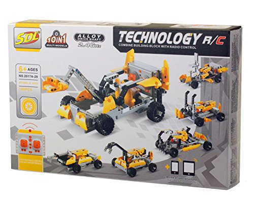 Bo-Toys R/C 10 in 1 Race Cars Building Bricks Radio Control Toy, 198 Pcs DIY Kit , Construction Build It Yourself Toy
