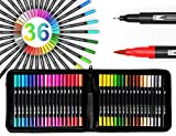 36 Dual Tip Brush Pens Art Markers Set Flexible Brush And 0.4mm Fineliner With Case - Coloring Journaling Lettering Drawing Planner Manga