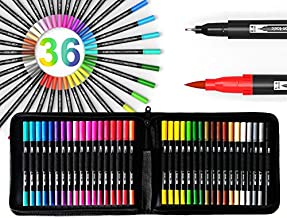 Dual Tip Brush Pens Double Sided Pigment Based Brush Markers 36 Color Art Set with Zipper Case Flexible Brush and 0.4mm Fineliner - Coloring Journaling Lettering Drawing Sketching Illustration Manga
