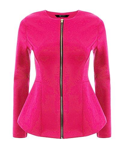 16MVRCH Mujer Cremallera Peplum Blazer (10, rosa)