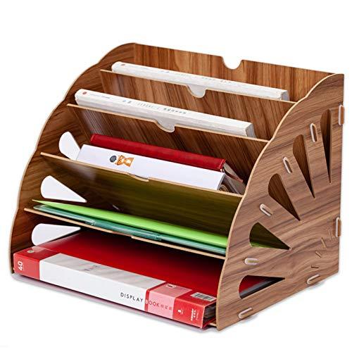 木製棚 A4 ファイルボックス デスクトップ収納 卓上収納 多機能 ファイルラック 書類トレー デスクトレー 簡単組み立て分解可能 レターファイリング 新聞 雑誌 A4ファイル フォルダー 書類入れ (ブラウン)