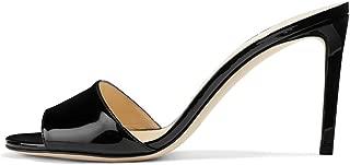FSJ Women Casual Peep Toe Mule Sandals Stiletto High Heels Party Evening Shoes Size 4-15 US
