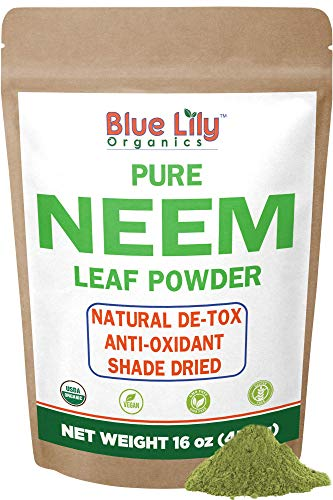 Blue Lily Organics Neem Leaf Powder (Azadirachta indica) 16 oz, 100% Pure, Certified Organic, Raw. For Hair, Skin, Pets and Immunity