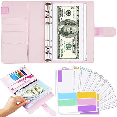 Pink A6 Binder and 12 Clear Envelopes, Budget Binder with Cash Envelopes for Budgeting, Mini Binder Pockets Cash Envelope Wallet, Small Binder Budget Planner Cash Envelope Binder with Budget Envelopes