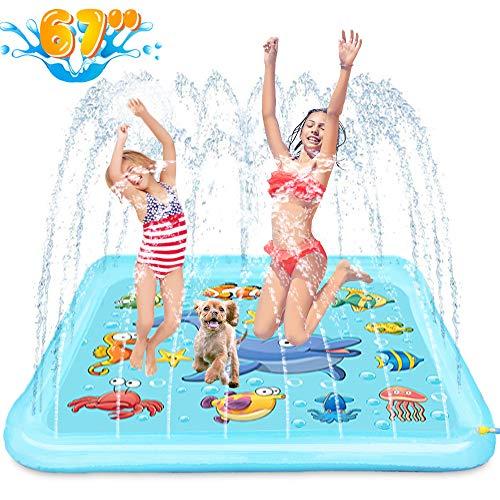 Growsland Splash Pad - 67' Sprinkler for Kids Outdoor Toys Fun Summer Water Pool Sprinkler Play Mat Outside Backyard Water Toy for Baby Toddlers Girls Boys