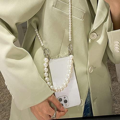 Pulseras de Perlas, Cadena, Bandolera, Collar con cordón, Estuche Blando para iPhone 12 Pro MAX Mini 11 Pro XR X XS 7 8 6S Plus SE 2020, Transparente, para iPhone XR