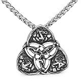LoverInDeca - Collar con Colgante de Amuleto talismán con símbolo de Vikingo, Amuleto de Carrera y Amuleto de Acero Inoxidable para Hombre