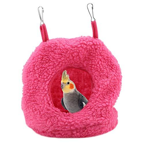 Pappagalli peluche Nido sospeso, 4 colori Pet Birds Warm Plush Nest Berber Fleece Hammock Swing Bed Cave for Parrot Parakeets Conures Macaws Cockatiels Love Birds (Roseo)