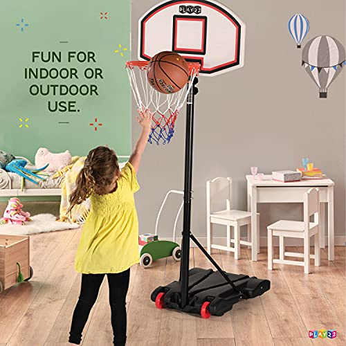 Play22 Kids Adjustable Basketball Hoop Height 5 - 7 FT - Portable Basketball Hoop for Kids Teenagers Youth and Adults With Stand & Backboard Wheels Fillable Base - Basketball Goals Indoor Outdoor Play
