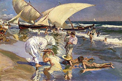 Praia de Valência na Luz da Manhã Crianças Brincando no Mar Espanha 1908 Pintura de Joaquín Sorolla na Tela em Vários Tamanhos (80 cm X 53 cm tamanho da imagem)