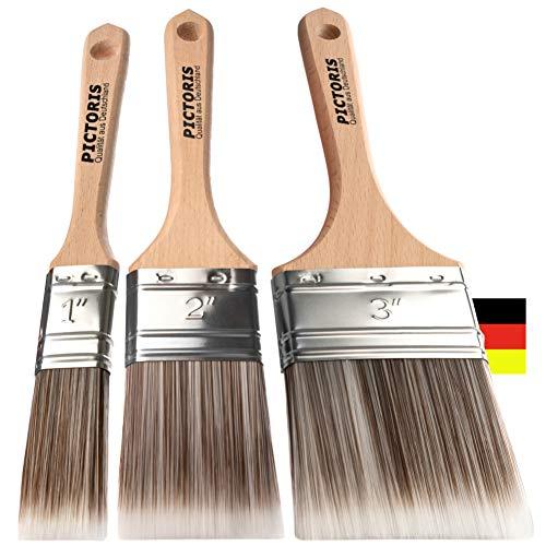 PICTORIS Lackierpinsel 3er Set PREMIUM | 100% Made in Germany | 3 handgefertigte Malerpinsel für Profis | Soft-Touch Synthetik-Borsten für ein perfektes Lackierergebnis | Kein Borstenverlust