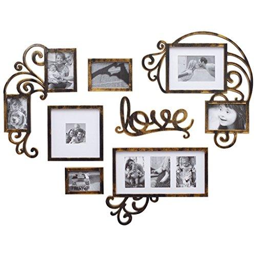 NYDZDM Kit de galerie murale en forme de coeur de cadres de photo de mur de photo en forme de coeur, ensembles décoratifs de cadre photo de mur de salon de restaurant européen