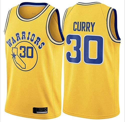 XZWQ Camisetas De Baloncesto para Hombre, NBA Warriors # 30 Stephen Curry City Edition Jersey Malla Bordada Baloncesto Swing Hombres Jersey,Amarillo,M
