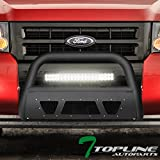 Topline Autopart Matte Black Studded Mesh Bull Bar Brush Push Front Bumper Grill Grille Guard With Skid Plate + 120W CREE LED Fog Light For 08-12 Ford Escape/Mazda Tribute/Mariner/Mountaineer