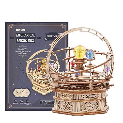WEEGO 3D Puzzle Holz Mechanische Modellbausätze Kits Starry Night Spieluhr 3D Mechanische Puzzles für Kinder und Erwachsene