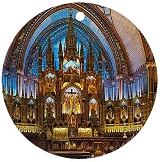 Yilooom The Notre-Dame Basilica in Montreal Round Flat Porcelain Ceramic Ornament-Christmas/Holiday/Love/Anniversary/Newlyweds/Keepsake - 3