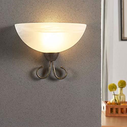 Lindby Wandleuchte, Wandlampe Innen \'Castila\' (Landhaus, Vintage, Rustikal) in Weiß aus Glas u.a. für Wohnzimmer & Esszimmer (1 flammig, E27, A++) - Wandfluter, Wandstrahler, Wandbeleuchtung