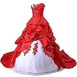 Zorayi Damen Liebsten Stickerei TAFT Kapelle Zug Formellen Ballkleid Brautkleider Hochzeitskleider Weiß & Rot Größe 48