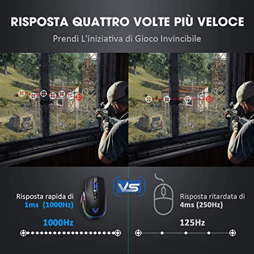 PICTEK Mouse Gaming Wireless RGB Ricaricabile, Mouse da Gaming Wireless & Cablato di Type C a Doppia modalità, 10000Hz+10000DPI, 8 Pulsanti Programmabili, Disegno Ergonomico per PC