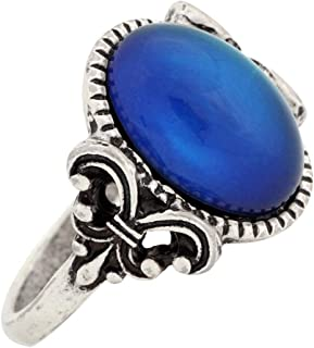 MOJO JEWELRY Gothic Flower Pattern Antique Sterling Silver Plating Oval Stone Color Change Mood Ring MJ-RS008