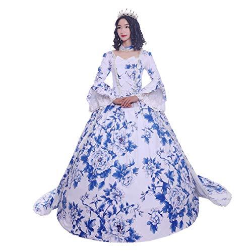 Marie Antonieta Rococó del siglo XVIII vestido de fiesta disfraz de baile de mascarada Royal Blue/Red Vintage Cosplay - azul - M