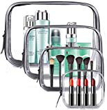 Meowoo Clear Cosmetic Bag, 4 Pcs Waterproof PVC Zippered Toiletry Carry Pouch Portable Makeup Bag Organizer Bag Set for Travel, Bathroom and Organizing (transparent)