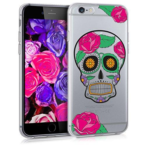 kwmobile Cover Compatibile con Apple iPhone 6 / 6S - Custodia in Silicone TPU - Backcover Protettiva Cellulare Teschio Skull Multicolore/Trasparente