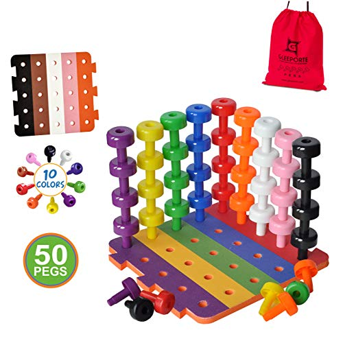 Patterned Stacking Peg Board Set Toy | JUMBO PACK | Montessori Occupational Therapy Early Learning For Fine Motor Skills, Ideal for Toddlers and Preschooler, Includes 50 Plastic Pegs & 2 Boards