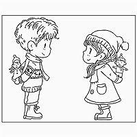 スクラップブッキングタンポン透明シール背景スタンプカード用ゴムシリコンクリアスタンプDiy漫画の男の子と女の子を作る