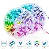 Striscia LED, 10M wifi connect striscia led rgb Autoadesiva LED Strisce Impermeabile...