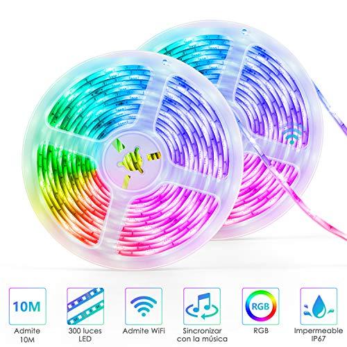 Striscia LED, 10M wifi connect striscia led rgb Autoadesiva LED Strisce Impermeabile Flessibile/Accorciabile/Divisibile/Collegabile Nastri Led