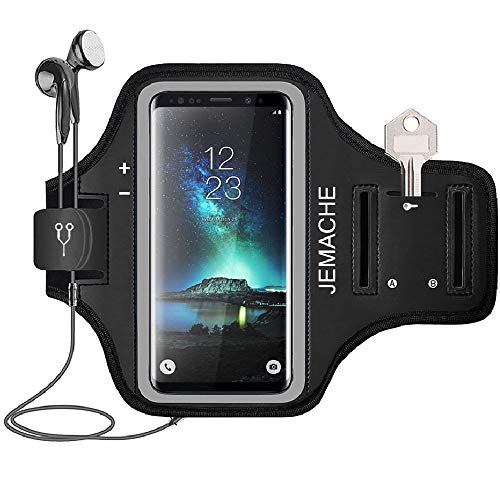 Galaxy S21/S20/S10/S9/S8 Armband, JEMACHE Gym Running Workouts Phone Arm Band for Samsung Galaxy S8/S9/S10/S20/S21 5G Fits Otterbox Defender, Lifeproof Case (Black)