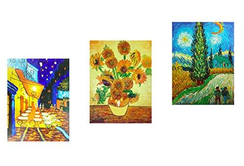 3 paneles de pinturas al óleo de obras famosas de Vincent van Gogh sobre lienzo pintado a mano, Fokenzary, listas para colgar en pared., lona, 12x16inx3pcs