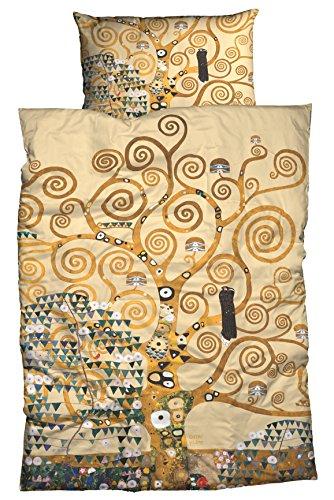 Casatex Mako-Satin Bettwäsche Lebensbaum Beige 135x200 cm + 80x80 cm