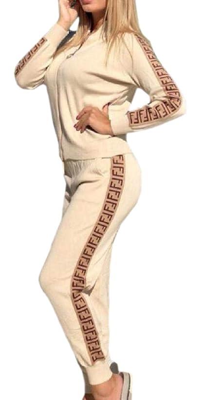 製造業修士号平行Womens 2 Piece Long Sleeve Print Jacket and Long Pants Tracksuit Set