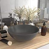 UnfadeMemory Lavandino da Bagno Rotondo Bacinella Lavello Lavamano Lavabo da Appoggio in Ceramica (Grigio Scuro)