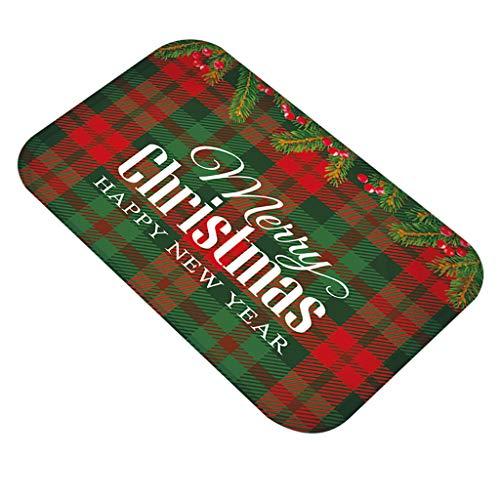 Shan-S Christmas Floor Mats, Merry Christmas Buffalo Plaid Print Flannel Decorative Door Mat,Xmas Kitchen Bathroom Anti-Slip Doormat Carpet Foot Pad Rugs for Entrance Way Bath Home Garden