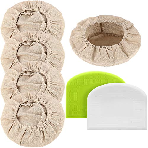 4 Pieces Bread Proofing Basket Cloth Liners Natural Rattan Baking Dough Basket Covers and 2 Pieces Baking Scraper Tools Plastic Bread Scrapers for Home Baking Supplies
