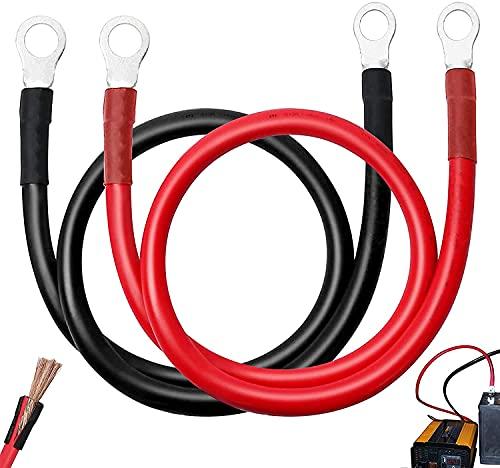 GZjiyu 2 Stück Batteriekabel 6AWG, 14mm² 70cm Massekabel mit Ringösen für Autobatterie Kabel Kupfer Stromkabel Motorrad Fahrzeug Solar Schiffs (Schwarz Rot)