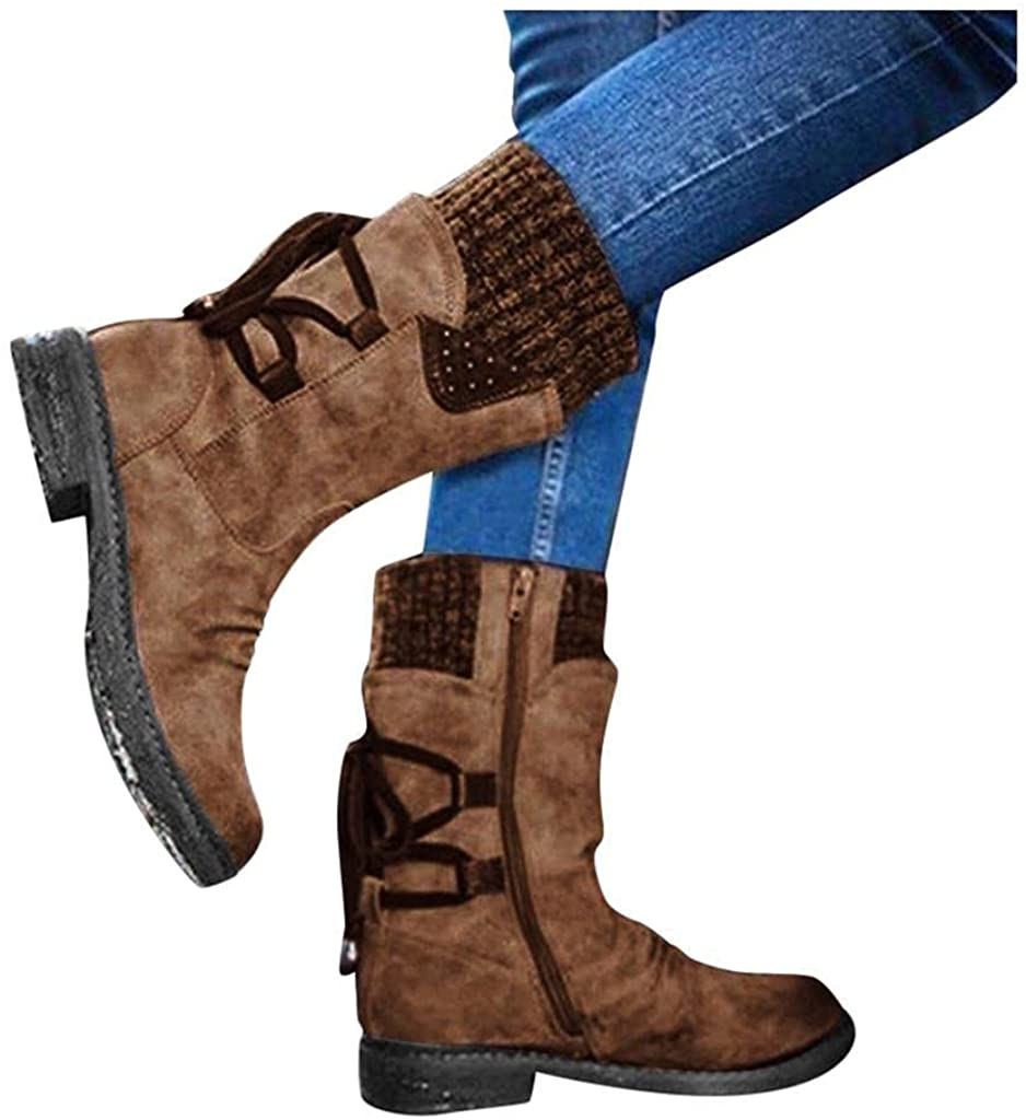 Zieglen Ankle Boots for Women, Vintage Long Booties Zipper Low Heel Boots Combat Boots Hiking Boots Womens Cowboy Boots Shoes